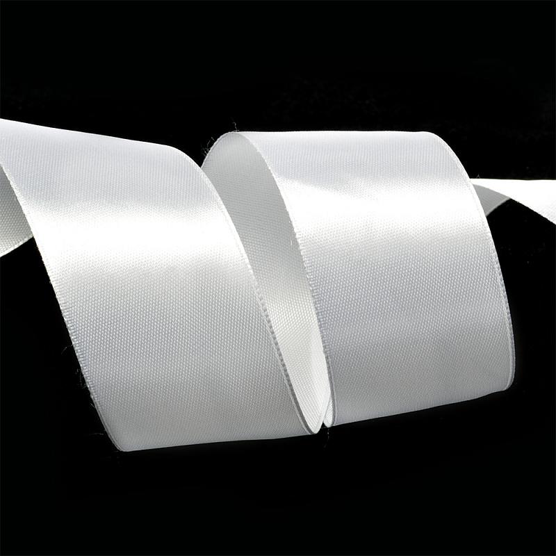 Атласная лента 4 см (бабина) белая