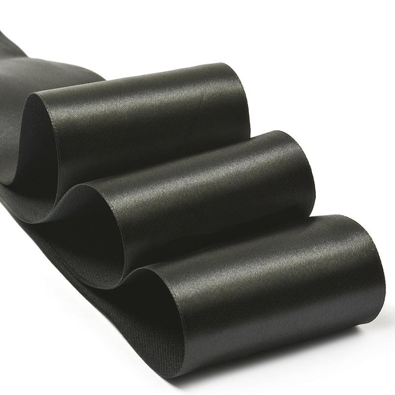 Атласная лента 5 см (1 метр), чёрный
