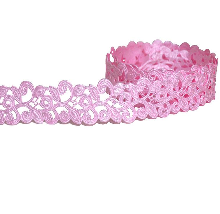 Декоративная лента с выбитым рисунком 2 см розовая(1 метр)