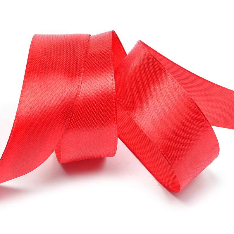 Атласная лента 4 см (бабина) красный
