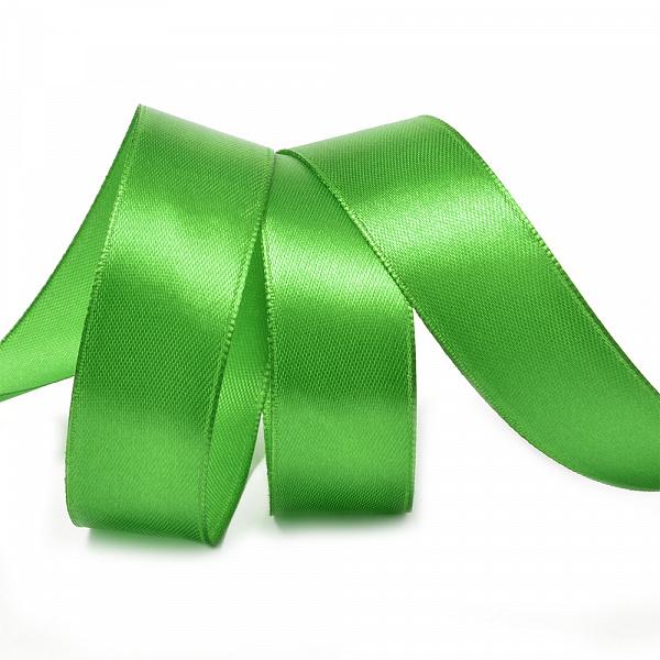 Атласная лента 5 см (1 метр), зелёная