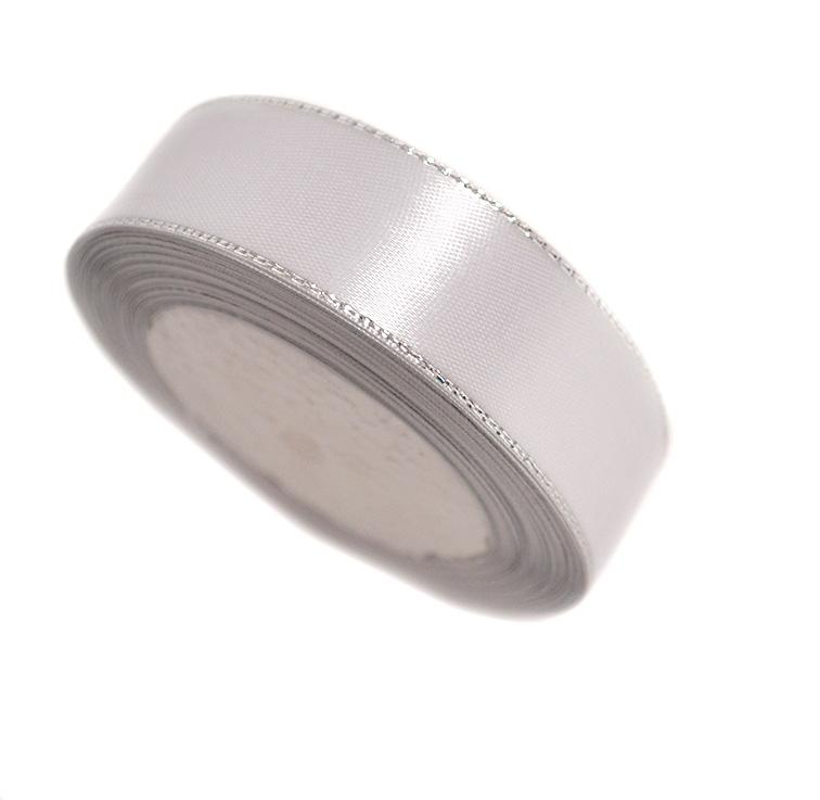 Атласная лента 2,5 см с серебряным люрексом (бабина)