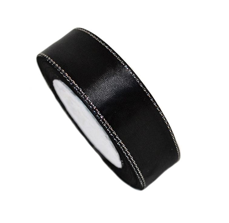 Атласная лента 2,5 см чёрный с серебряным люрексом (бабина)