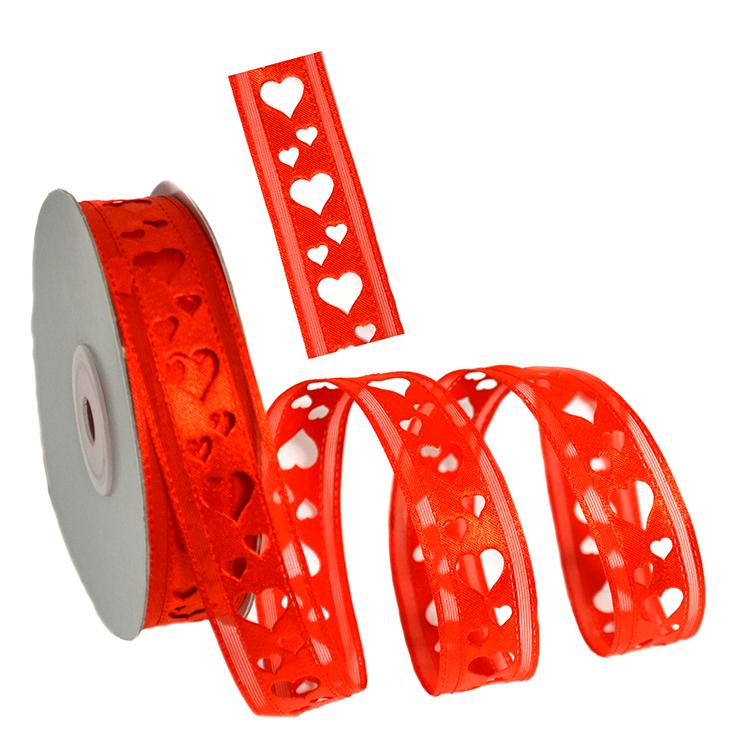 Лента с выбитым рисунком «Сердечки» 2 см красный