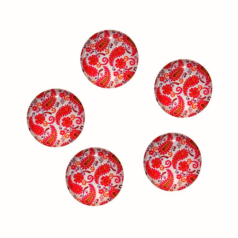 Кабошоны стекло 25 мм «Красные листья»