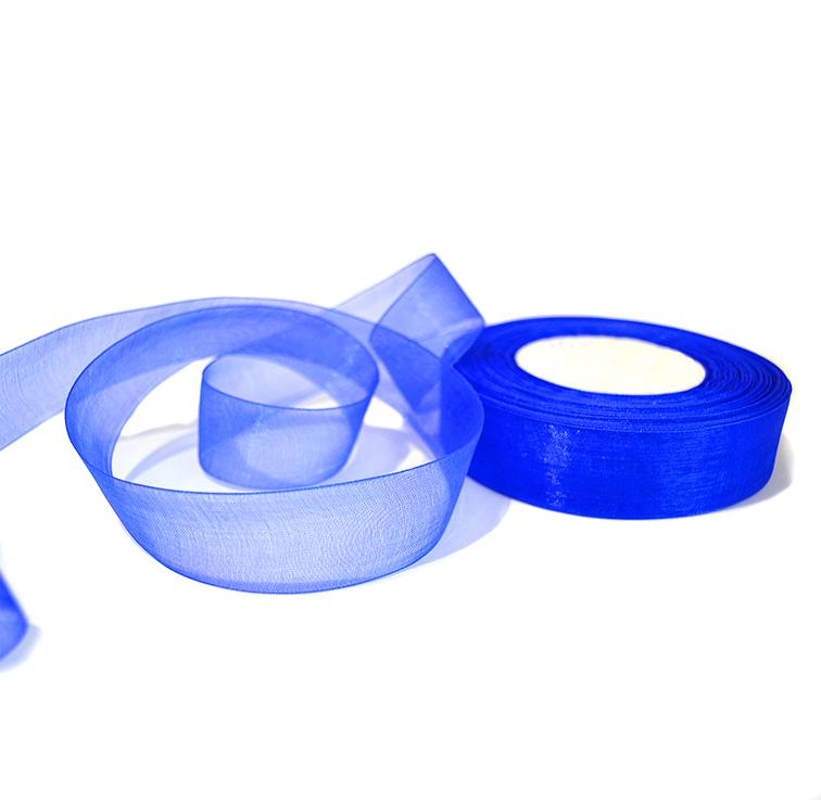 Лента органза 2,5 см синий