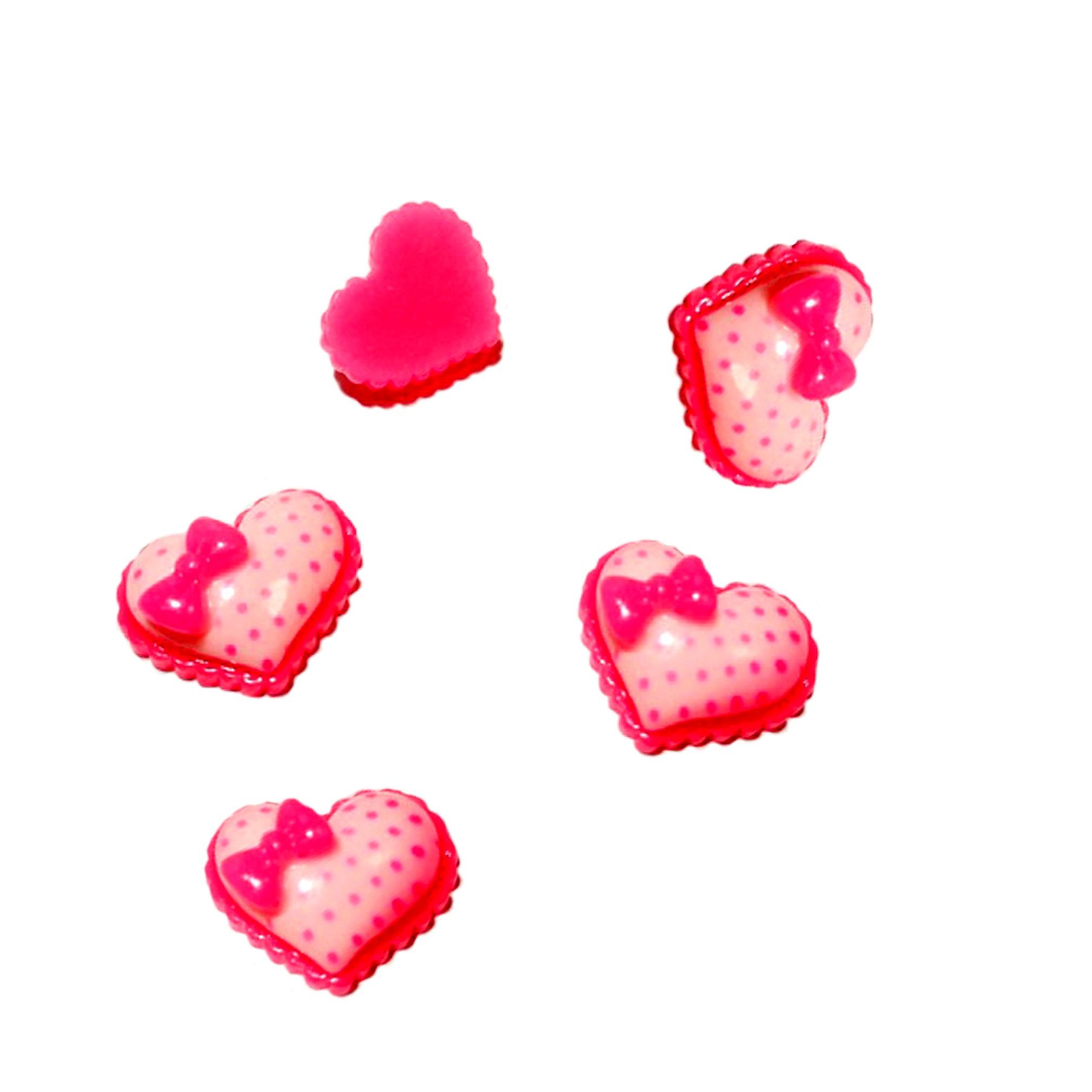 Кабошон «Сердце с бантиком»