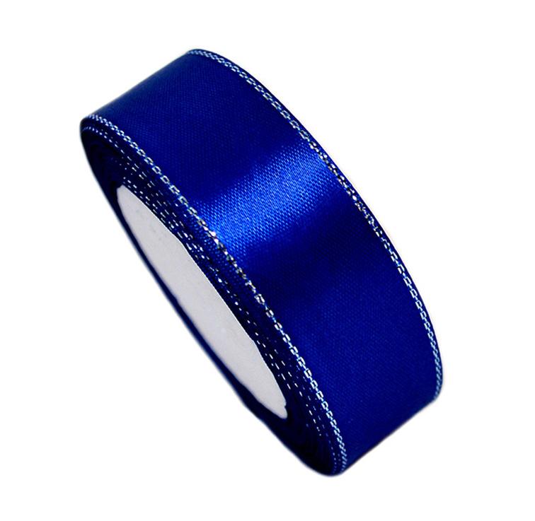Атласная лента 2,5 см синий с серебряным люрексом (бабина)