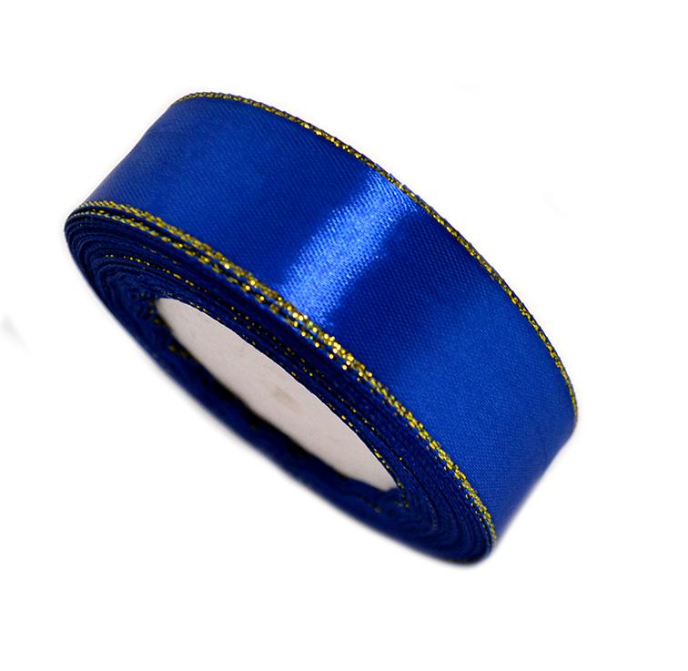 Атласная лента 2,5 см синий с золотым люрексом (бабина)
