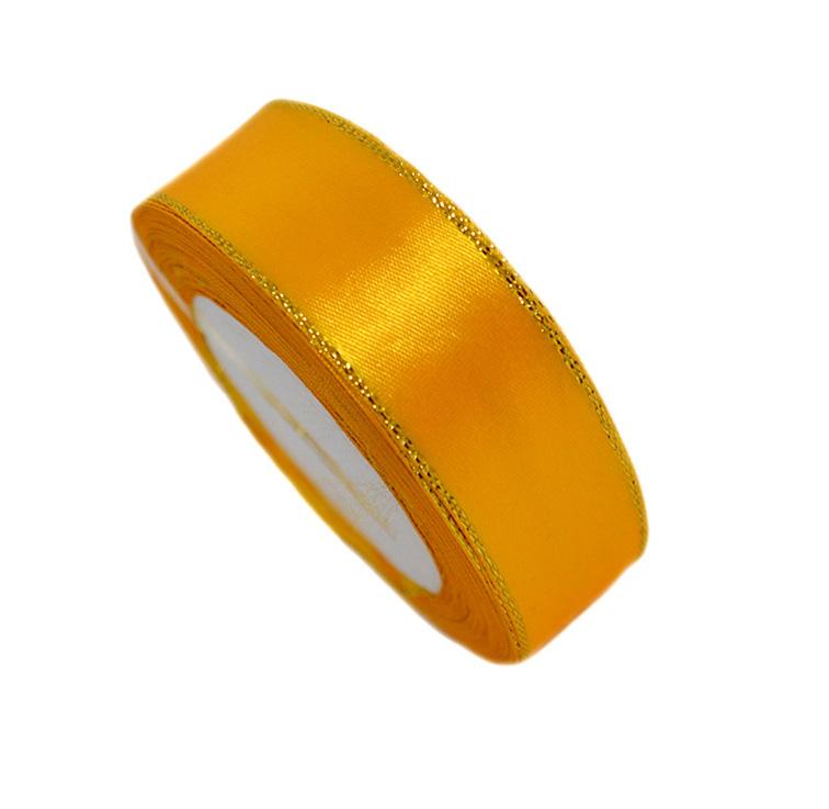 Атласная лента 2,5 см с золотым люрексом (бабина)