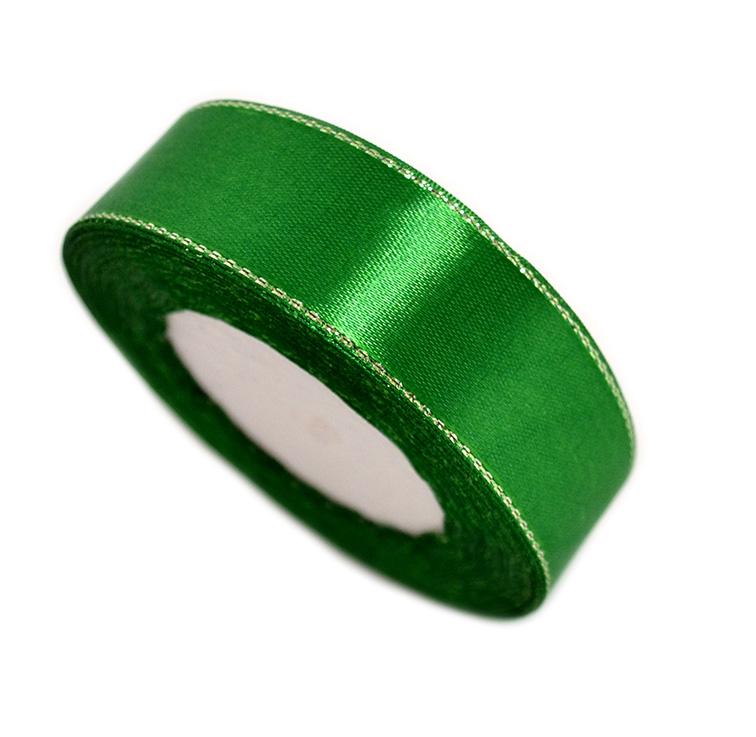 Атласная лента 2,5 см зелёный с серебряным люрексом (бабина)