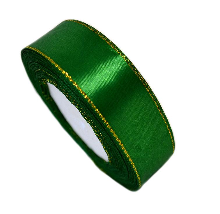 Атласная лента 2,5 см зелёный с золотым люрексом (бабина)