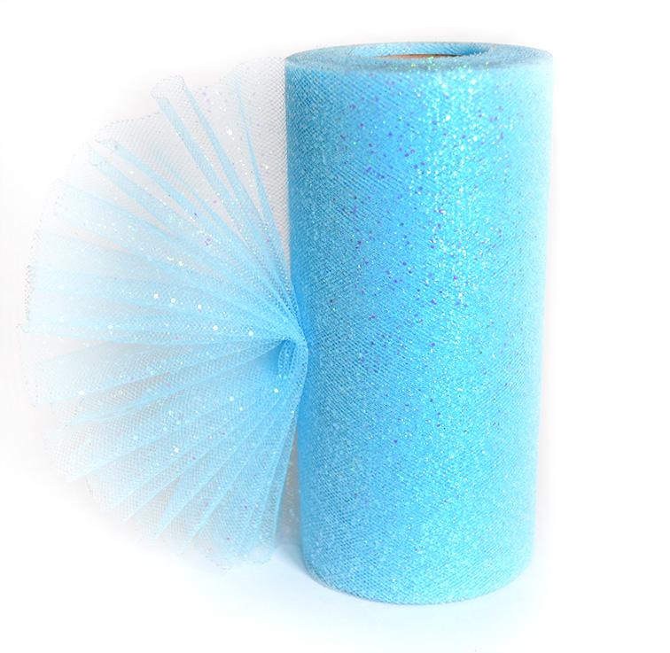 Фатин с блёстками 15 см голубой