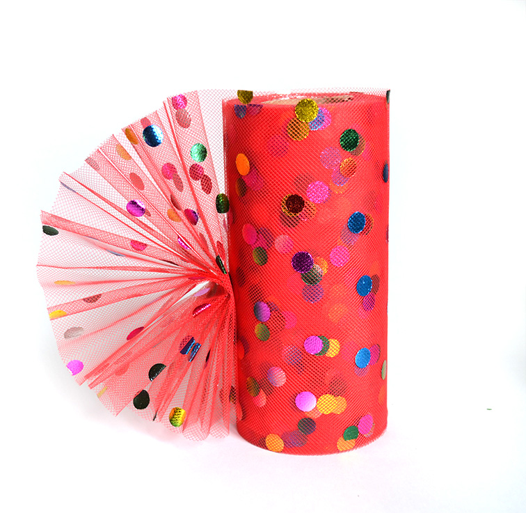 Фатин «Разноцветный горох» 15 см красный