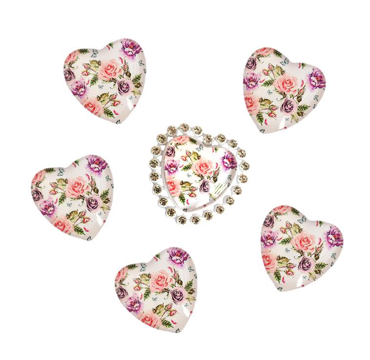 Кабошоны стекло 25 мм «Цветы» (сердечко)