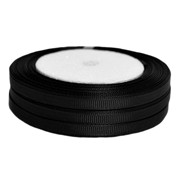 Лента репсовая 0.6 см, черный (1 метр)