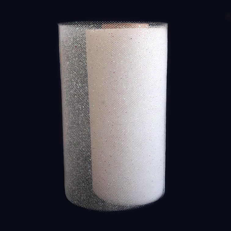 Фатин с блёстками 15 см, белый (1 метр)