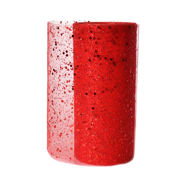 Фатин с пайетками 15 см, красный (1 метр)
