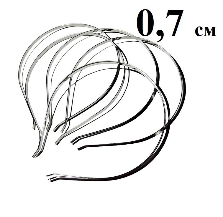 Ободок (обруч) для волос металл 7 мм, серебро