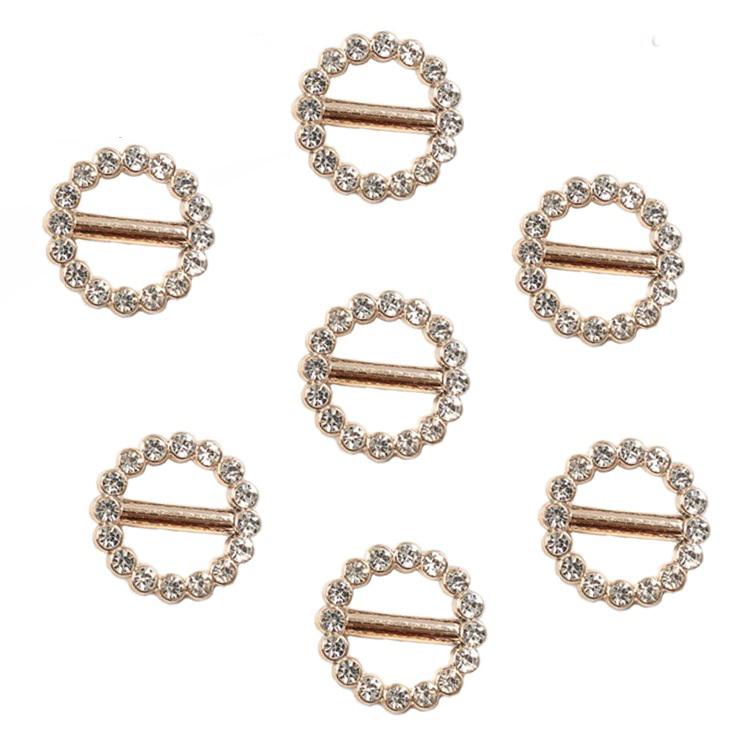 Пряжка декоративная со стразами «Круг», 20 мм (1 шт), золото