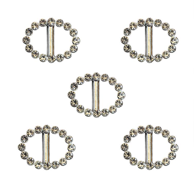 Пряжка декоративная со стразами «Овал», 24*18 мм (1 шт), серебро