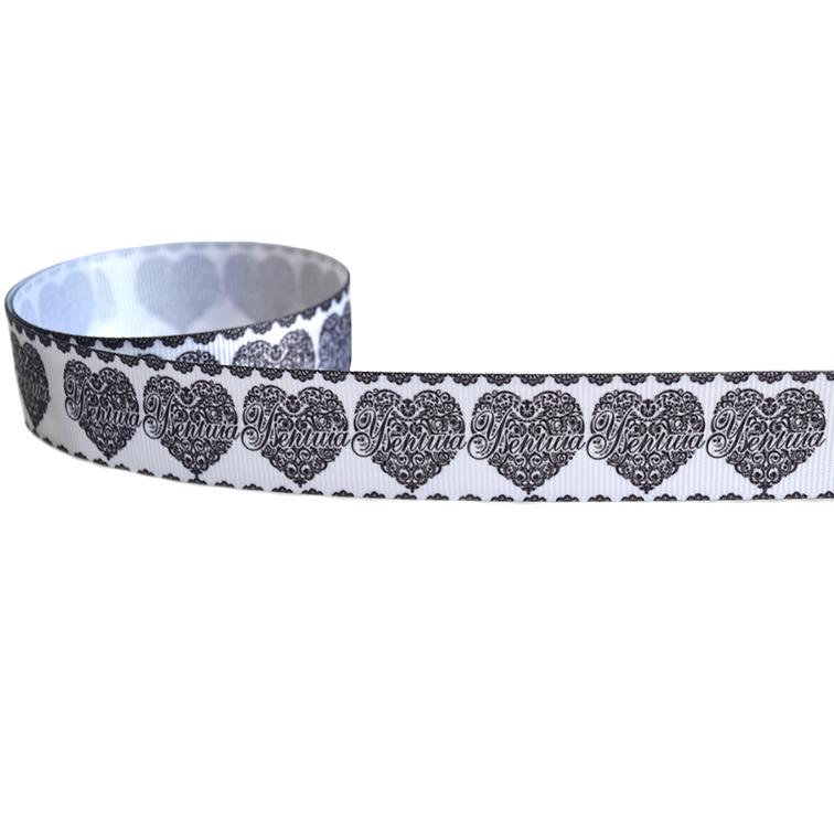 Репсовая лента «Сердце» 2,5 см (1м)