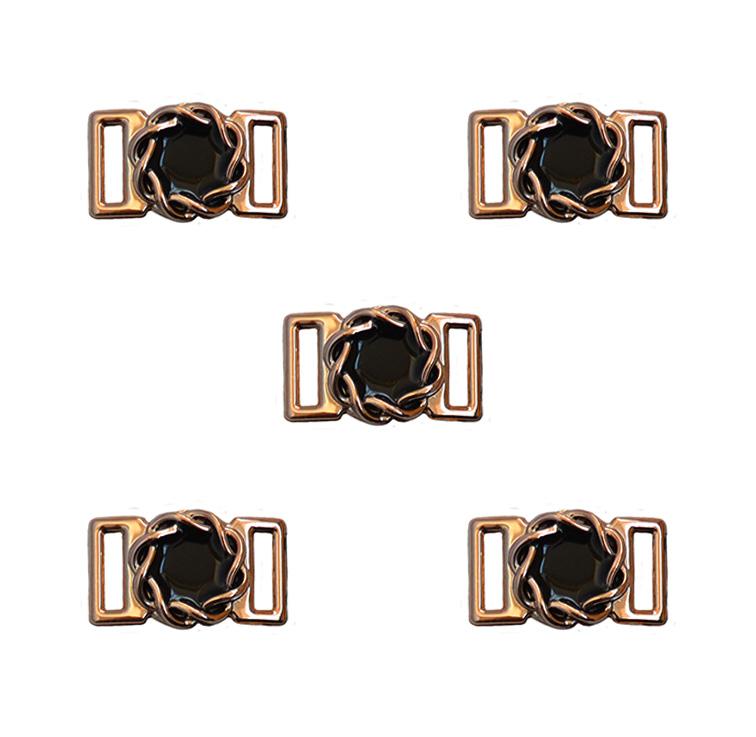 Пряжка декоративная 23*14 мм (1 шт), золото/чёрный