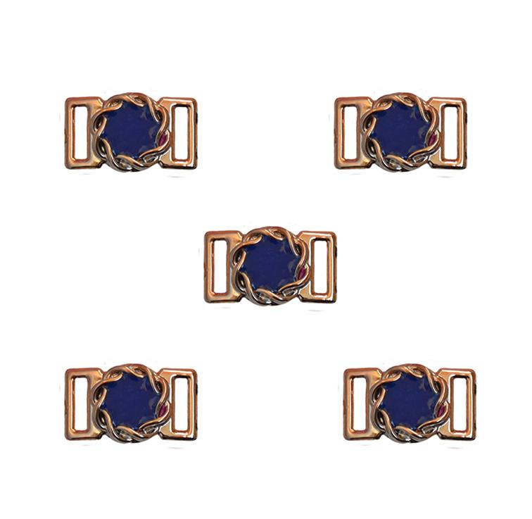 Пряжка декоративная 23*14 мм (1 шт), золото/синий