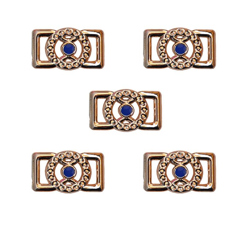Пряжка декоративная 25*16 мм (1 шт), золото/синий