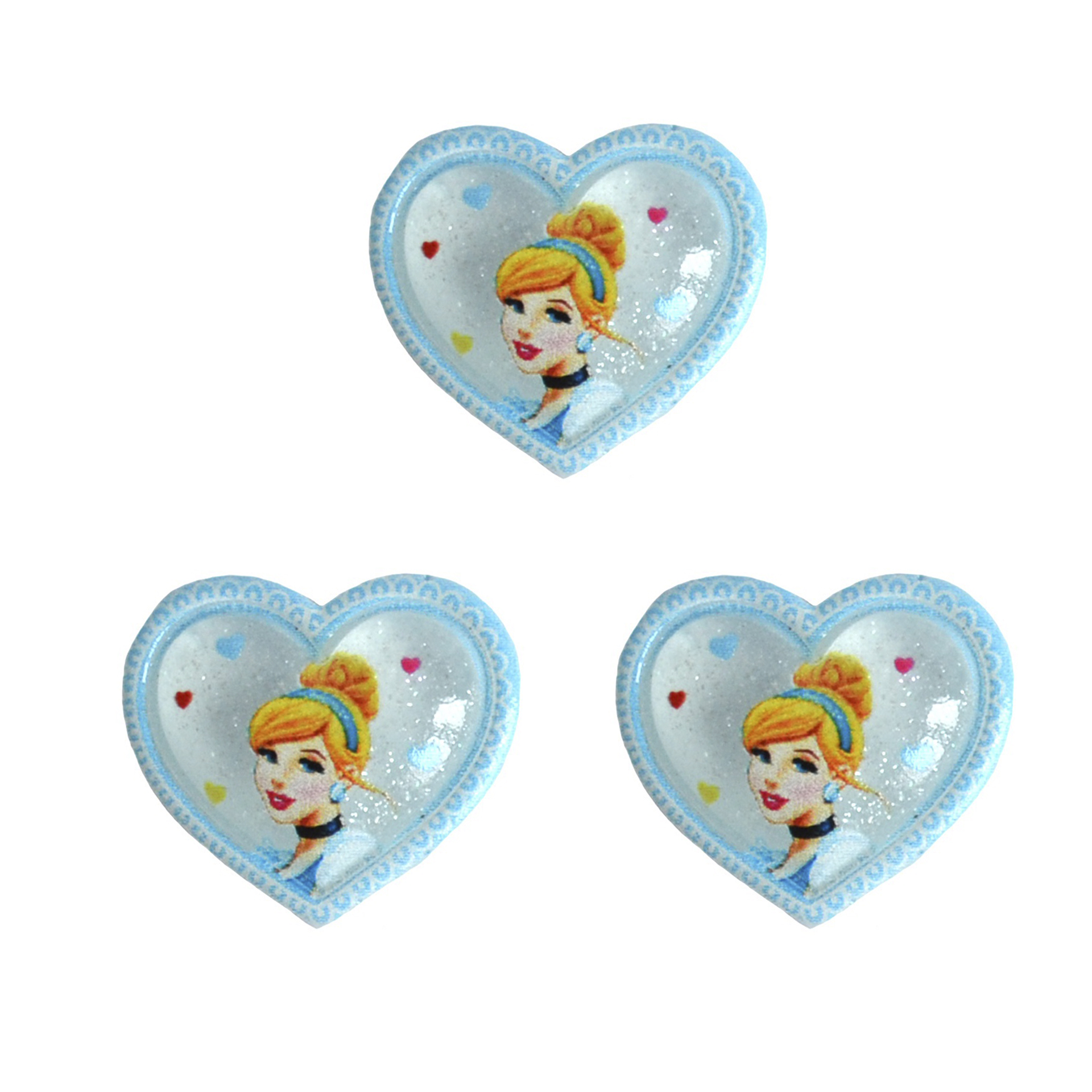 Кабошон «Сердце с принцессой», 20*18 мм (1 шт), голубой