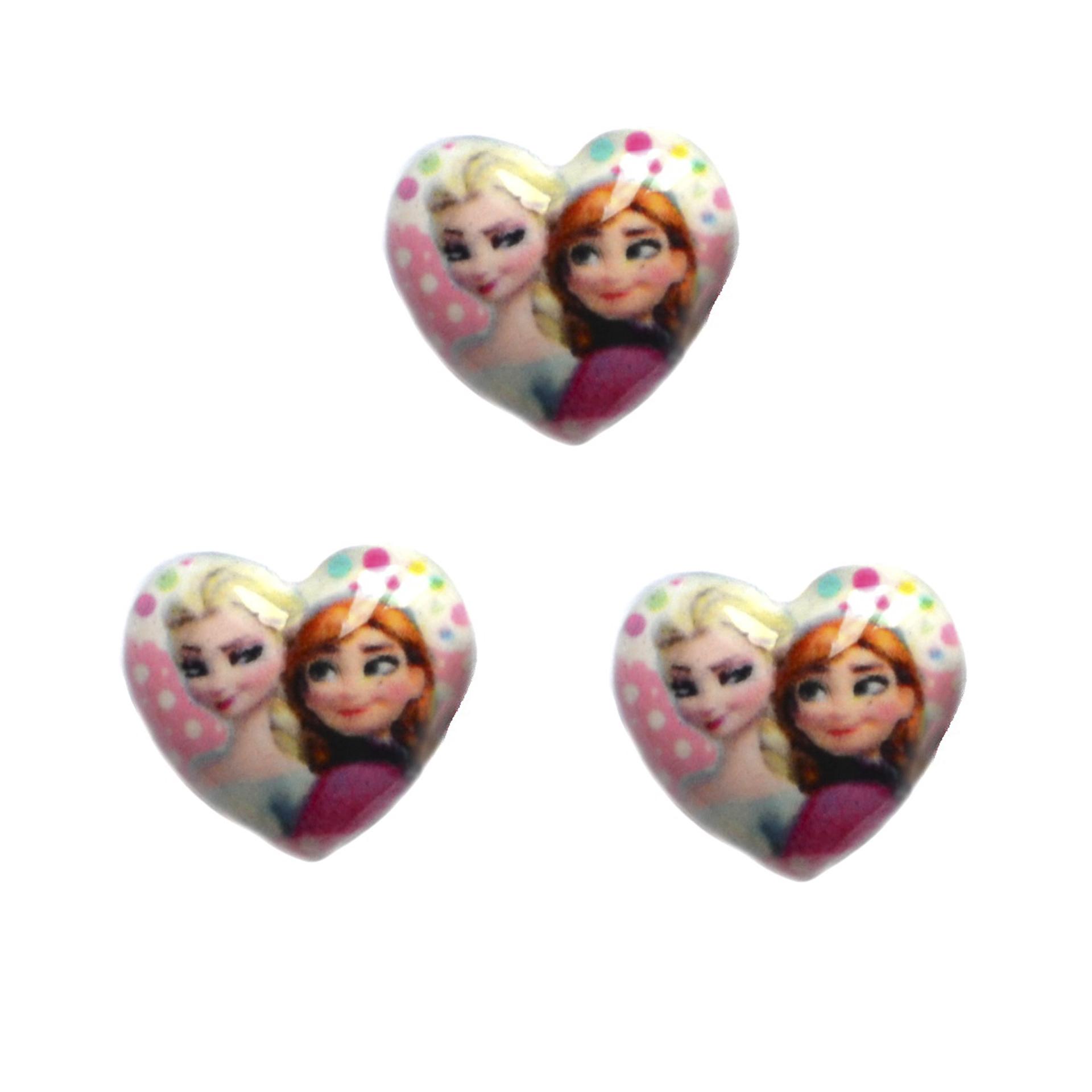 Кабошон сердце «Эльза и Анна», 20*18 мм (1 шт)