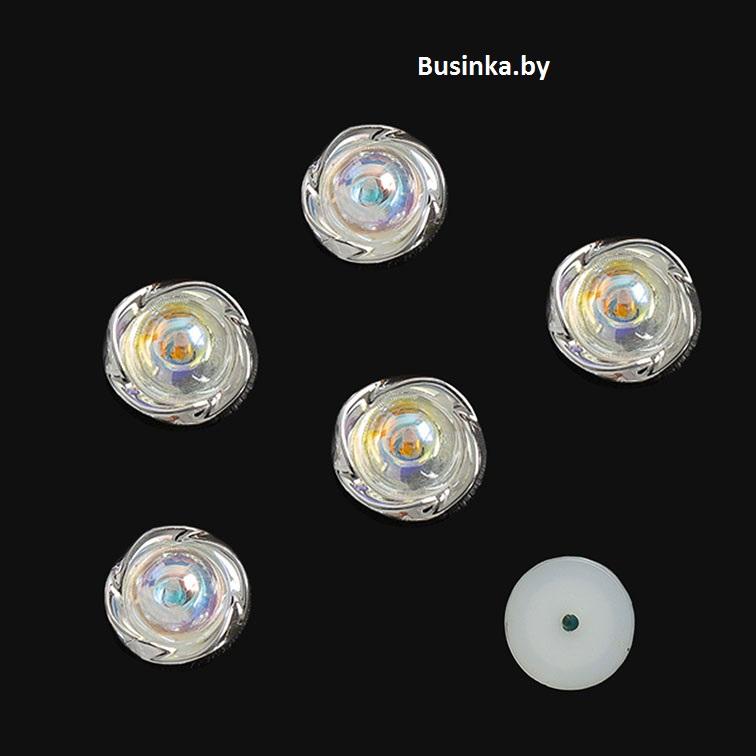 Кабошон флоризель пластик 18 мм, серебро (1 шт)