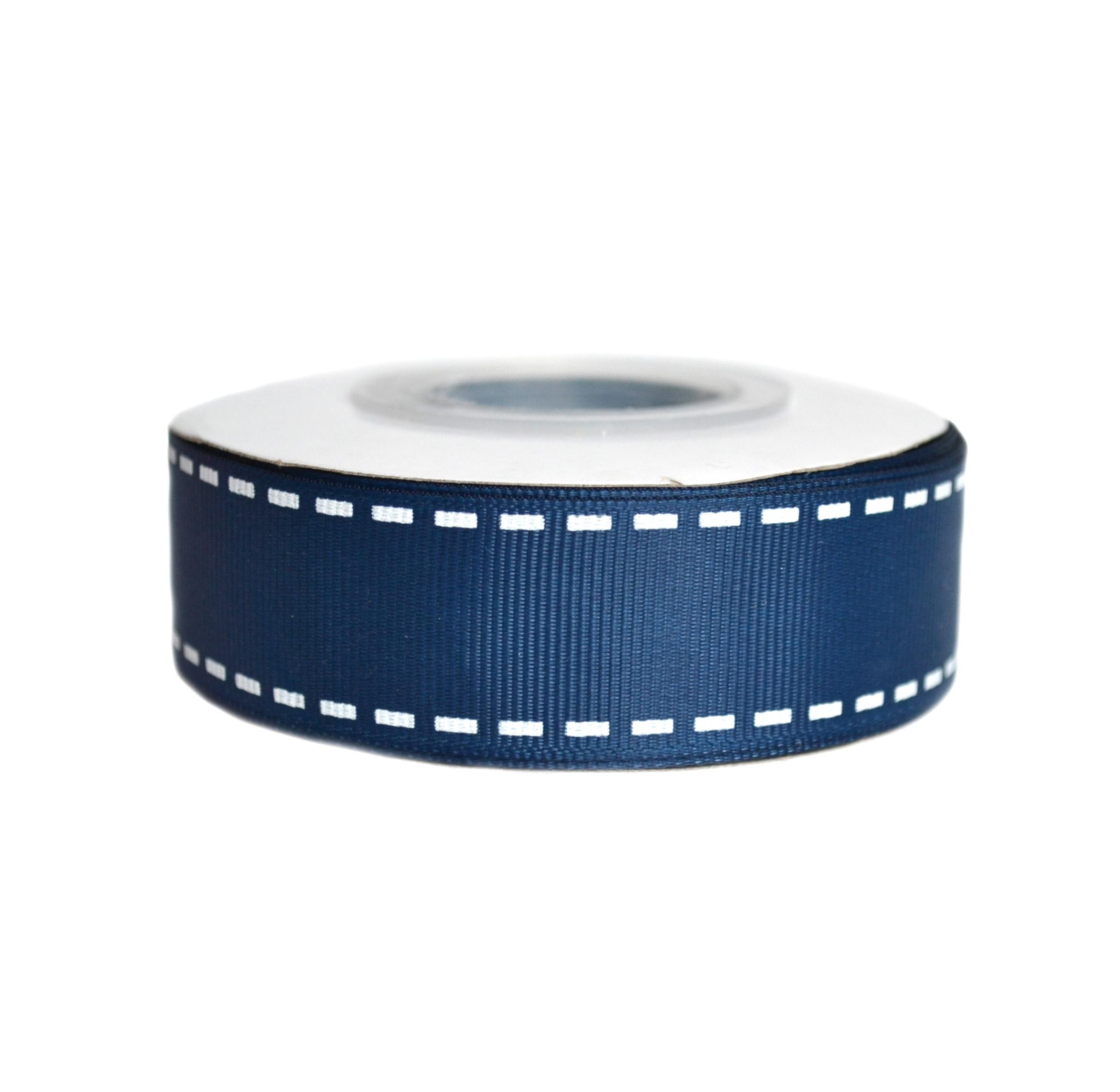 Репсовая лента «Строчка» 2,5 см, синий (1м)