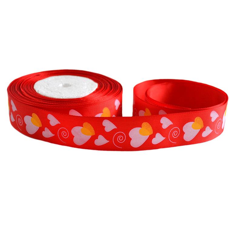 Репсовая лента «Сердечки» 2,5 см (1м), красный