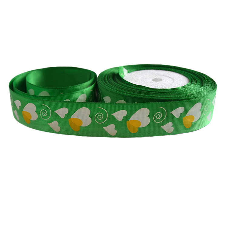 Репсовая лента «Сердечки» 2,5 см (1м), зелёный