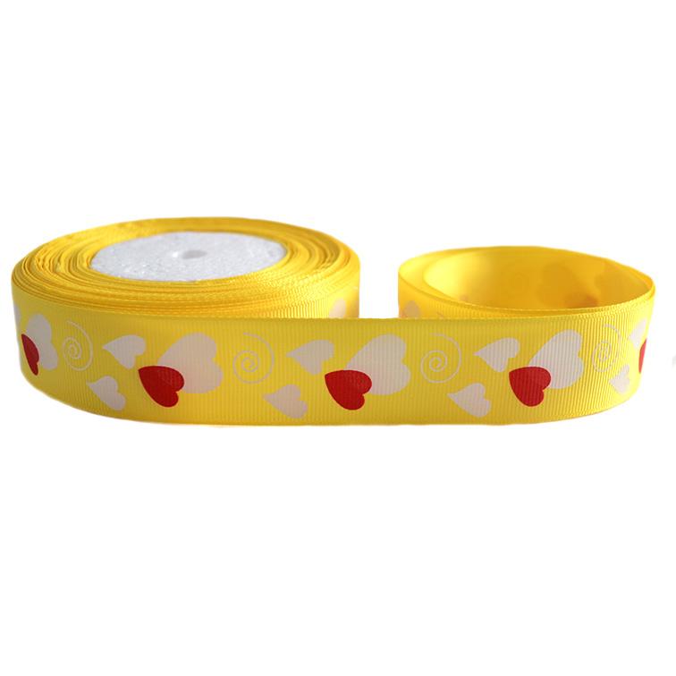 Репсовая лента «Сердечки» 2,5 см (1м), жёлтый