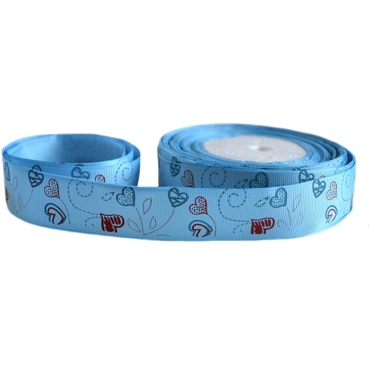Репсовая лента «Сердечки» 2,5 см (1м), голубой