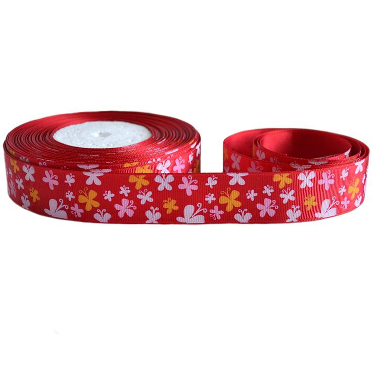 Репсовая лента «бабачки» 2,5 см (1м), красный
