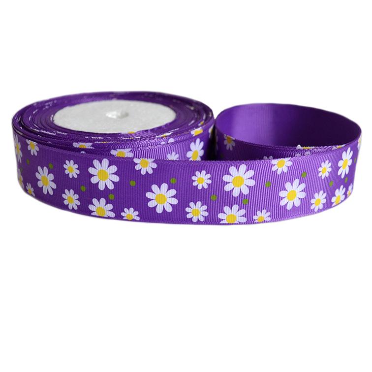 Репсовая лента «Ромашки» 2,5 см (1м), фиолетовый