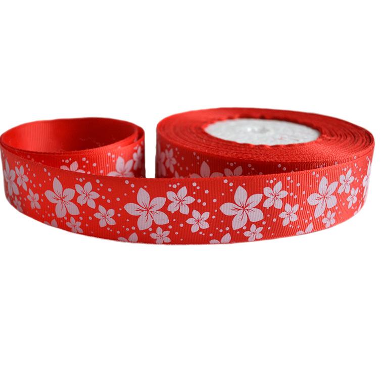 Репсовая лента «Цветы» 2,5 см (1м), красный
