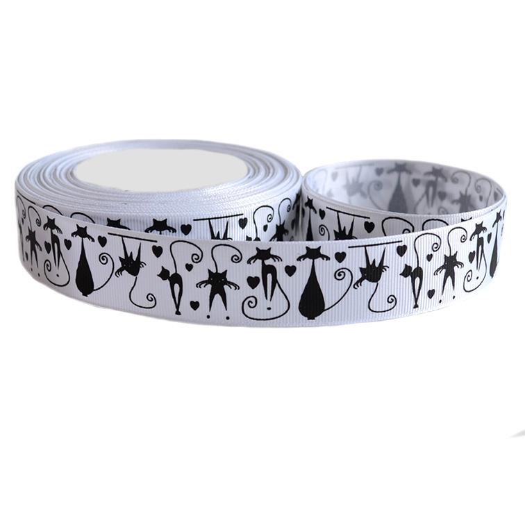 Репсовая лента «Коты» 2,5 см (1м), белый/чёрный