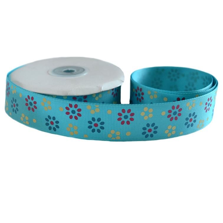 Репсовая лента «Цветы» 2,5 см (1м), голубой