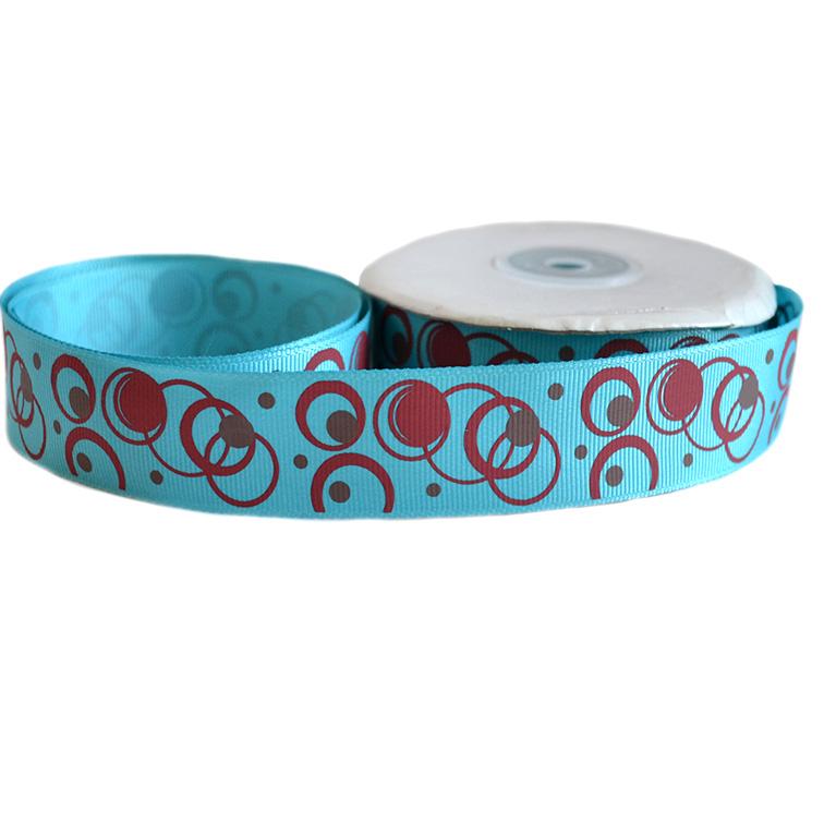 Репсовая лента «Круги» 2,5 см (1м), синий