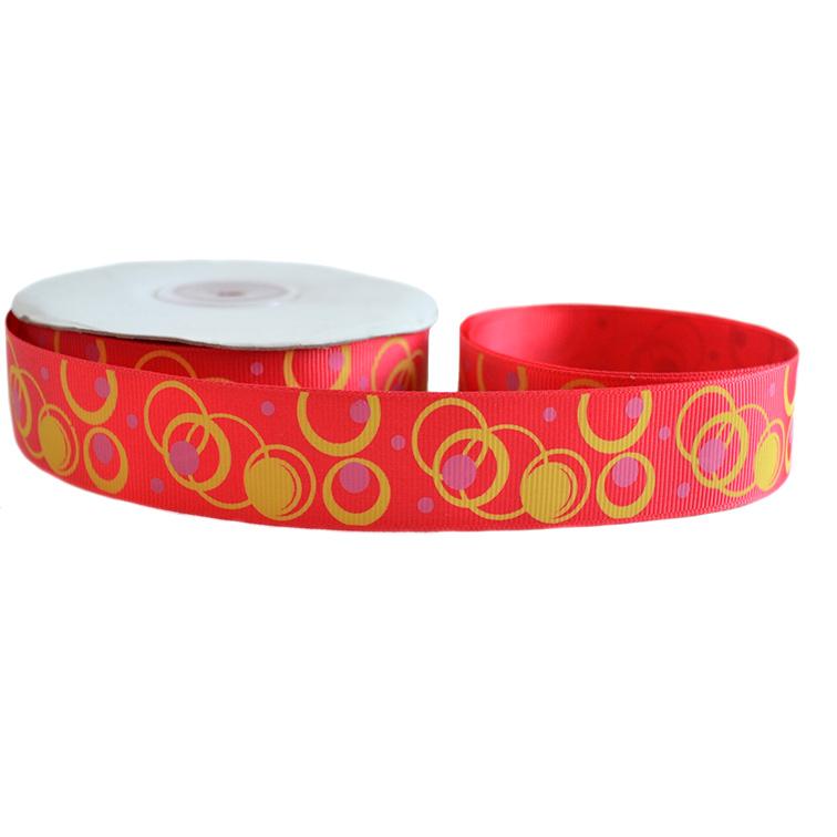 Репсовая лента «Круги» 2,5 см (1м), красный