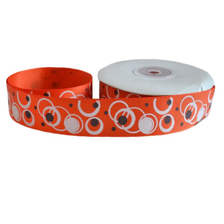 Репсовая лента «Круги» 2,5 см (1м), оранжевый