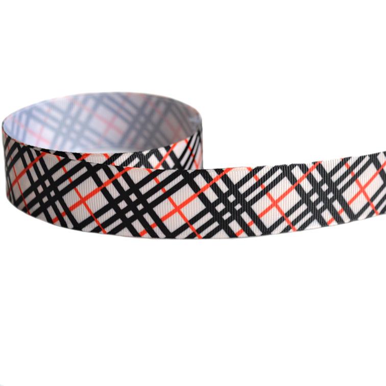 Репсовая лента «Полосы» 2,5 см (1м), красный/чёрный