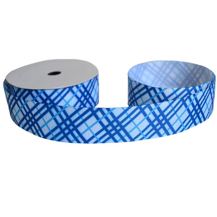 Репсовая лента «Полосы» 2,5 см (1м), синий/голубой