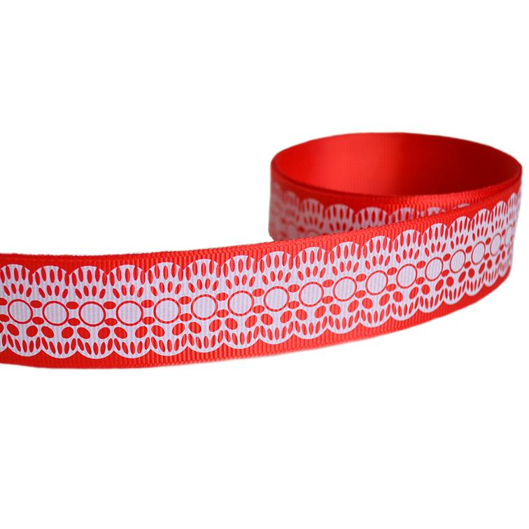 Репсовая лента «Кружево» 2,5 см (1м), красный