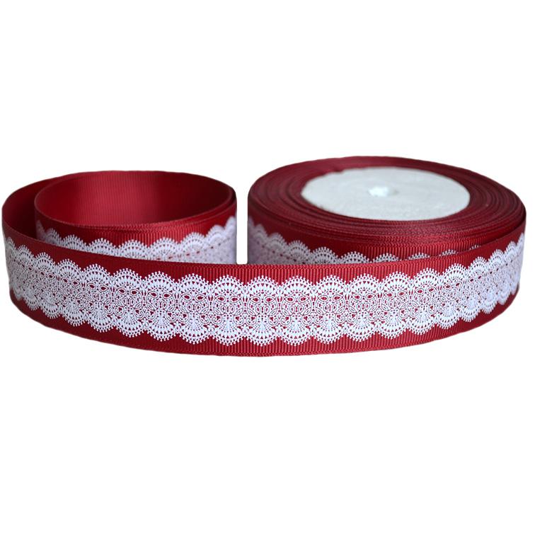 Репсовая лента «Кружево» 2,5 см (1м), бордовый