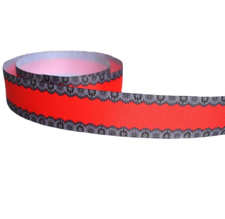 Репсовая лента «Кружево» 2,5 см, красный/чёрный (1м)